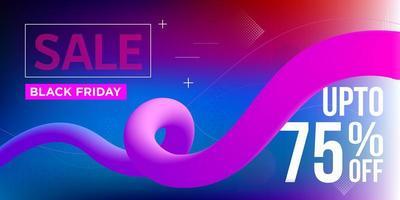 venerdì nero banner di vendita nastro blu e rosa