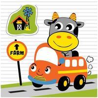 piccola mucca che guida un autobus vettore