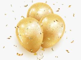 palloncini d'oro con glitter vettore