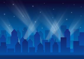 Vettore del paesaggio delle luci della città