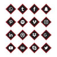 social media nero, set di icone angolo rosso