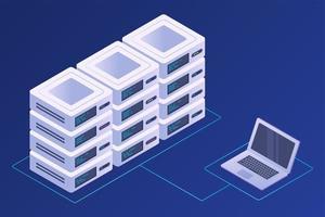 concetto di data center, server, database e tecnologia vettore