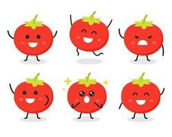 raccolta di simpatico personaggio di pomodoro in varie pose vettore