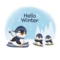 piccoli pinguini che sciano per il design della celebrazione invernale