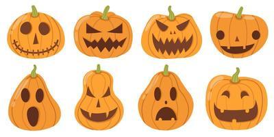 set di zucche di halloween in stile cartone animato su bianco vettore