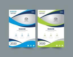 relazione annuale modello di layout blu e verde vettore