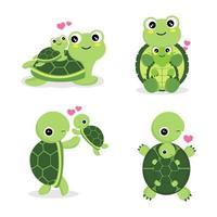 set di simpatiche tartarughe per la festa della mamma vettore