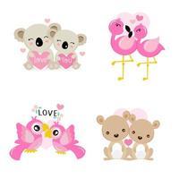 set di simpatici animali per la celebrazione di San Valentino vettore