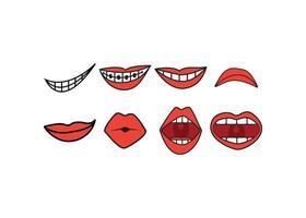 set di espressione di labbra vettore