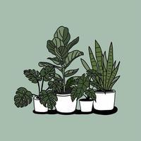 disegno di piante in vaso casa disegnata a mano