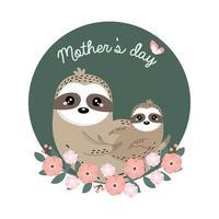 mamma e bambino di bradipo per la festa della mamma vettore