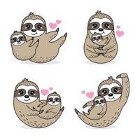 simpatico set di caratteri di mamma e bradipo vettore