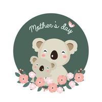 mamma e bambino koala per la festa della mamma vettore