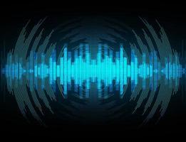 onde sonore che oscillano nella luce blu vettore