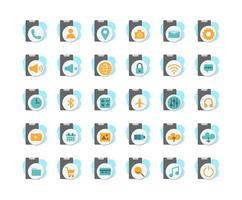 funzioni dello smartphone, set di icone piatte di app