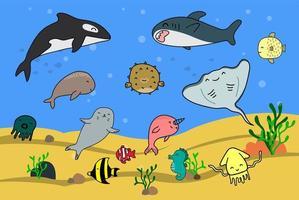 simpatici cartoni animati di animali marini vettore