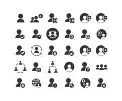 set di icone solide utenti vettore
