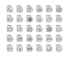 set di icone di contorno di app e funzioni dello smartphone