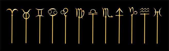 set di icone di segni zodiacali d'oro
