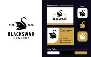 modello di logo del cigno nero vettore