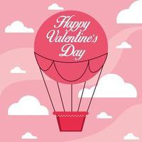 happy valentines day card con mongolfiera