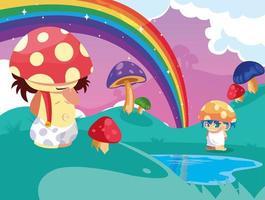 piccolo fungo da favola nella fantasia del paesaggio con il lago vettore