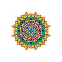 vettore di mandala colorato verde giallo indiano