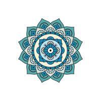 mandala floreale di colore blu e bianco vettore