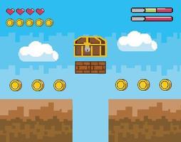 scena del videogioco con petto pixelato vettore