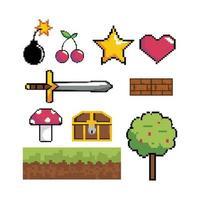 set di icone grafiche pixel videogioco vettore