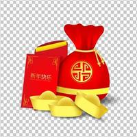 borsa rossa e pacchetto rosso per il capodanno cinese