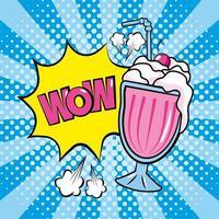 fumetto pop-art di milkshake e onomatopea vettore