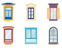 set di finestre in stile cartone animato.