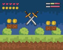 scena di videogioco con spade in stile pixel vettore