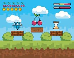 scena del videogioco con icone di pixel vettore