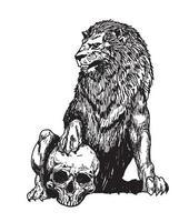 tatuaggio arte leone e teschio vettore