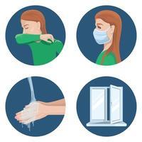 illustrazione delle precauzioni durante la diffusione del virus. vettore