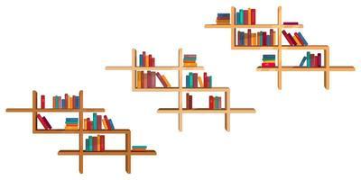 set di libri colorati sugli scaffali. vettore