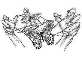 mani di arte del tatuaggio con farfalla