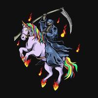 Grim Reaper con unicorno vettore