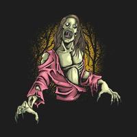 illustrazione affamata di zombie vettore