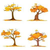 insieme di alberi con foglie che cadono. vettore