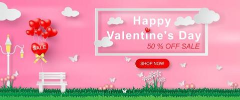 arte di carta e artigianato del banner del sito Web di San Valentino con testo vettore