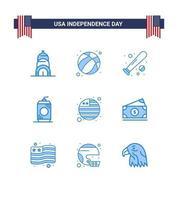 set di icone blu giorno dell'indipendenza degli Stati Uniti vettore