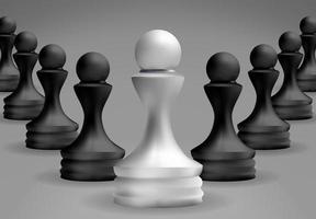 scacchi pedone bianco in piedi di fronte agli altri vettore