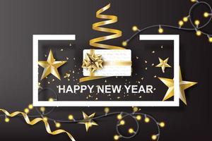 arte di carta di felice anno nuovo con sfondo dorato fiocco regalo