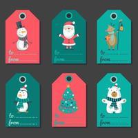 etichette colorate di Natale, tag vacanza insieme