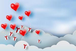 arte di carta di palloncino cuore rosso galleggiante e confezione regalo vettore