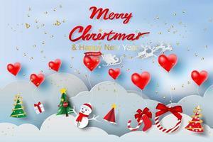 arte di carta di palloncino cuore rosso galleggiante e Babbo Natale con doni vettore