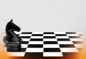 concetto di gioco degli scacchi con pezzo di cavallo nero